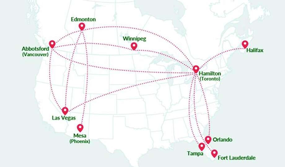 Initial routes for WestJet's low-cost Swoop subsidiary. (Image: Swoop) Photo: Swoop