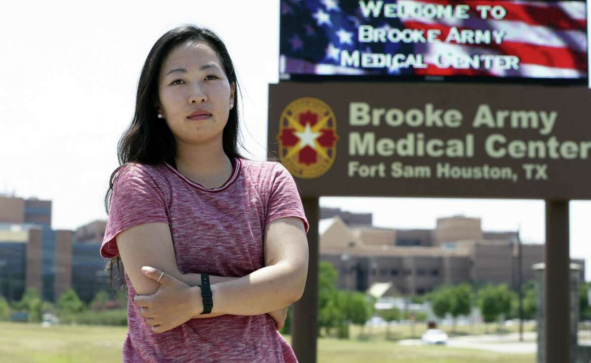 Yea Ji Sea, an Army specialist from South Korea, was discharged from the military Friday at Fort Sam Houston.
