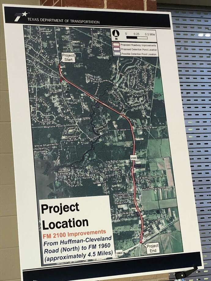 The Texas Department of Transportation displays a map of its proposed construction project and a public feedback meeting it held at Hargrave High School on August 2 Photo: Texas Department Of Transportation