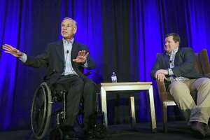 Governor Greg Abbott speaks at the Resurgent Gathering at the Capitol Sheraton with moderator Erick Erickson in Austin on August 3, 2018.