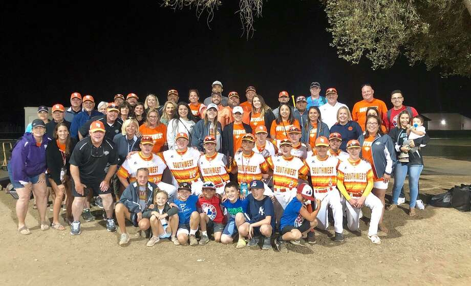 The Mid City All Stars pose with family and friends who made the trip to Livermore, Calif., to watch the team play in the Intermediate 50/70 World Series. Photo: Courtesy Photo