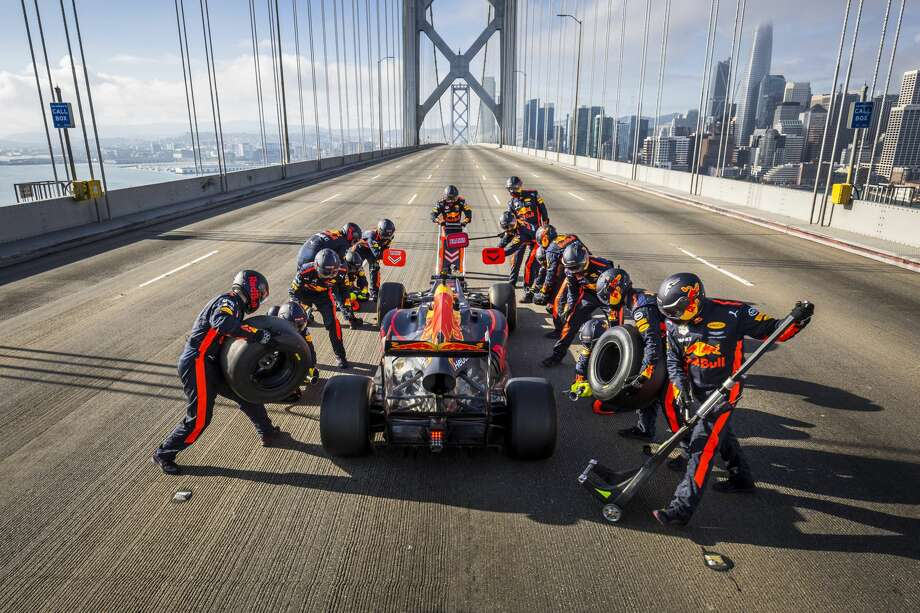 Formula 1 racer Daniel Ricciardo takes a pit stop on an empty Bay Bridge. A new video released Thursday by Red Bull Racing follows Ricciardo zipping around the streets of San Francisco before beginning a western road trip to Las Vegas. Photo: Red Bull Racing