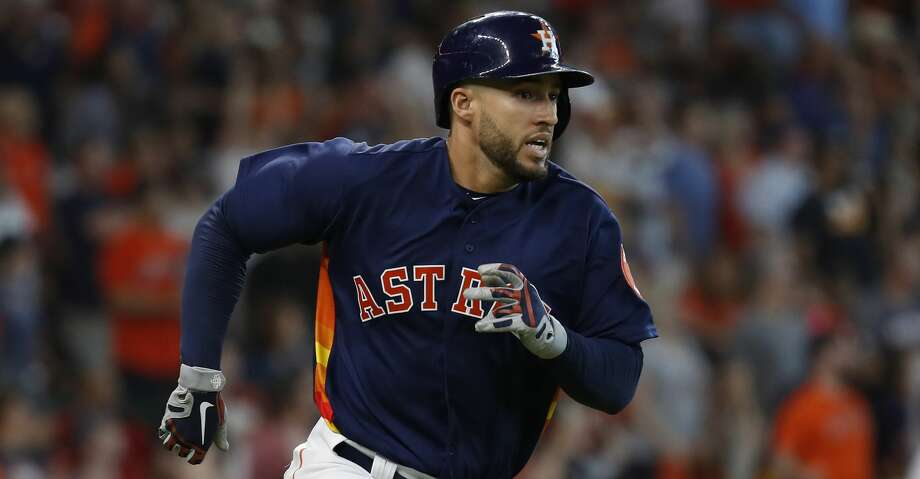 Houston Astros George Springer (4) races around first base after hitting a double during the sixth inning of an MLB game at Minute Maid Park, Sunday, July 29, 2018, in Houston. Photo: Karen Warren/Houston Chronicle