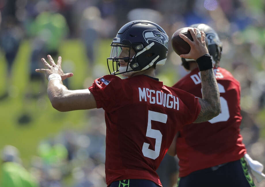 The hype surrounding rookie quarterback Alex McGough has diminished significantly in training camp. McGough tells the SeattlePI that a moment of silence each night has helped him to relax amid struggles.   Photo: Ted S. Warren/Associated Press