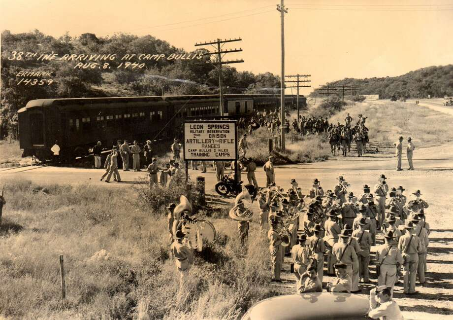 The 38th Infantry arrives at Camp Bullis on Aug. 8, 1940, at the Old Bullis Road railway stop, between the Beckmann and Viva railroad stations. There were several such stops in the area, serving the community of Leon Springs, nearby ranches and a quarry as well as Army installations. Photo: Courtesy Fort Sam Houston Museum