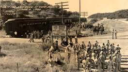 The 38th Infantry arrives at Camp Bullis on Aug. 8, 1940, at the Old Bullis Road railway stop, between the Beckmann and Viva railroad stations. There were several such stops in the area, serving the community of Leon Springs, nearby ranches and a quarry as well as Army installations.