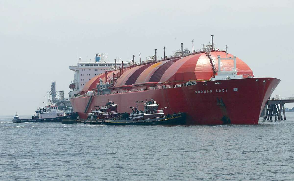 """The """"Norman Lady"""" filled with liquefied natural gas from a BP Energy facility in Trinidad docks at the Dominion Natural Gas Plant's offshore docking facility."""