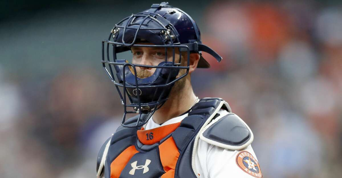 Houston Astros catcher Brian McCann (16) during the first inning of an MLB game at Minute Maid Park, Friday, April 27, 2018, in Houston. ( Karen Warren / Houston Chronicle )
