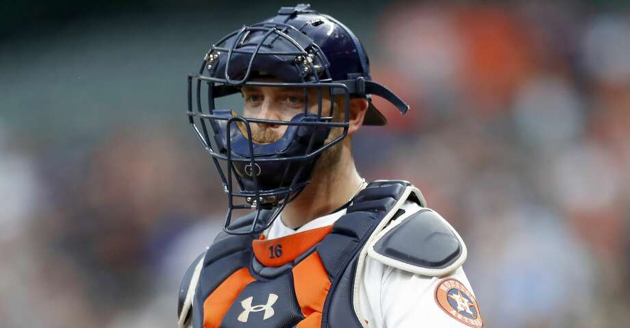 Houston Astros catcher Brian McCann (16) during the first inning of an MLB game at Minute Maid Park, Friday, April 27, 2018, in Houston. ( Karen Warren  / Houston Chronicle ) Photo: Karen Warren/Houston Chronicle