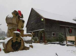 A view of the Kleinke Farm, started by Paul Kleinke and now run by by his grandchildren, seen here on Tuesday, Dec. 12, 2017, in Glenmont, N.Y.  The large bear is constructed out of hay bales.  (Paul Buckowski / Times Union)