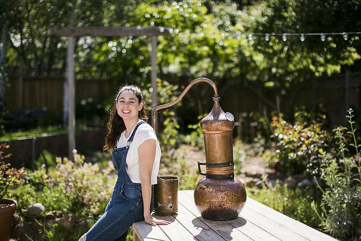 Botnia skincare founder Justine Kahn in her micro farm in Sausalito.