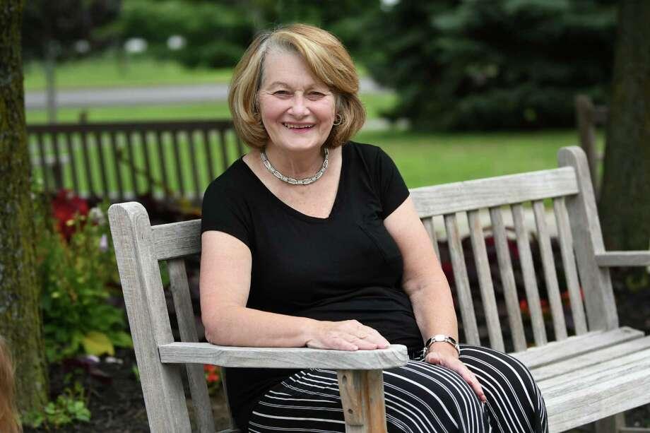 Maureen Aumand sits on a bench at The Crossings on Thursday, Aug. 2, 2018 in Colonie, N.Y. (Lori Van Buren/Times Union) Photo: Lori Van Buren / 20044473A
