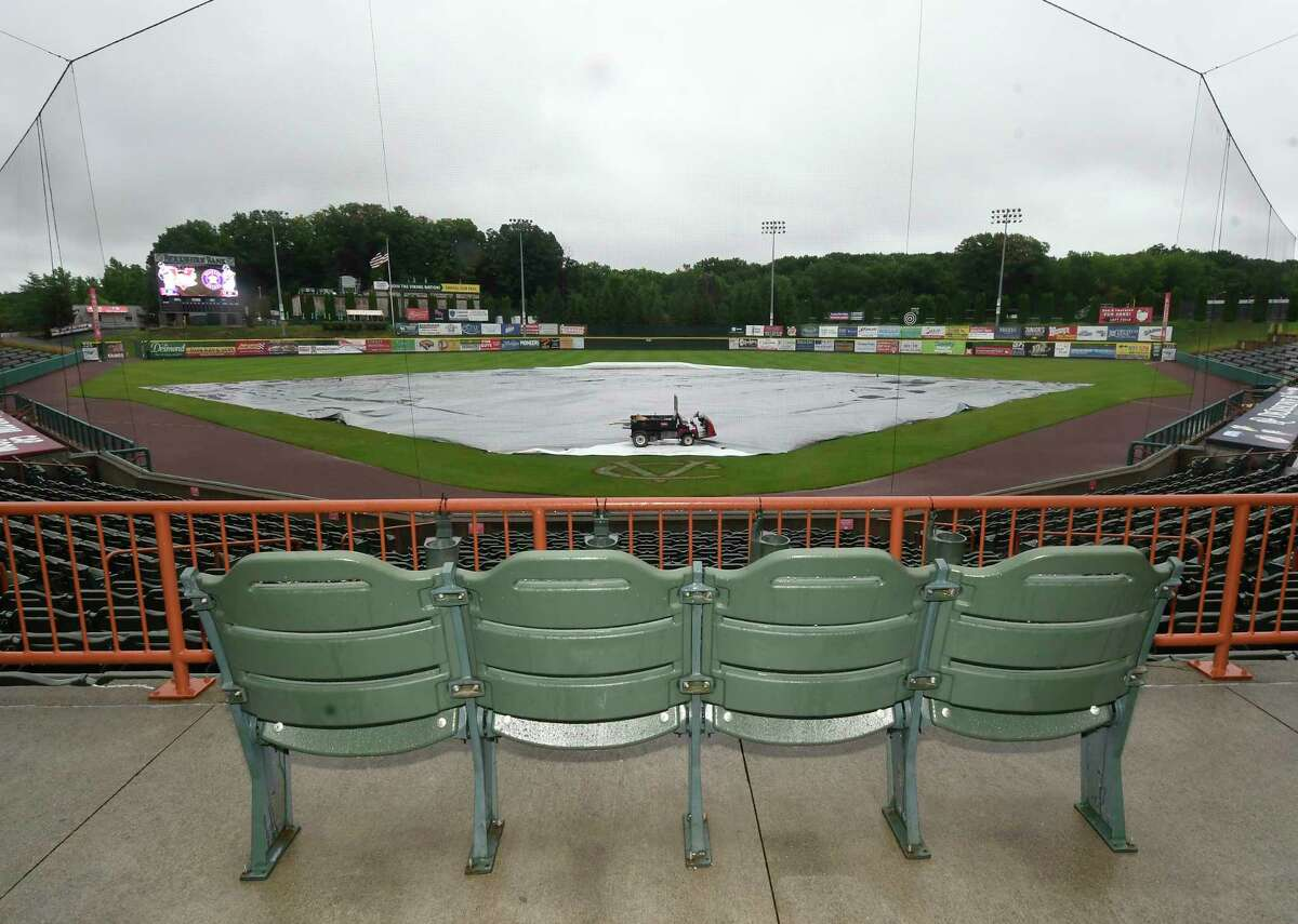 View of the covered infield as tonights game between the Tri-City ValleyCats and the Lowell Spinners was cancelled due to rain Friday, Aug. 3, 2018, in Troy, N.Y. (Hans Pennink / Special to the Times Union)