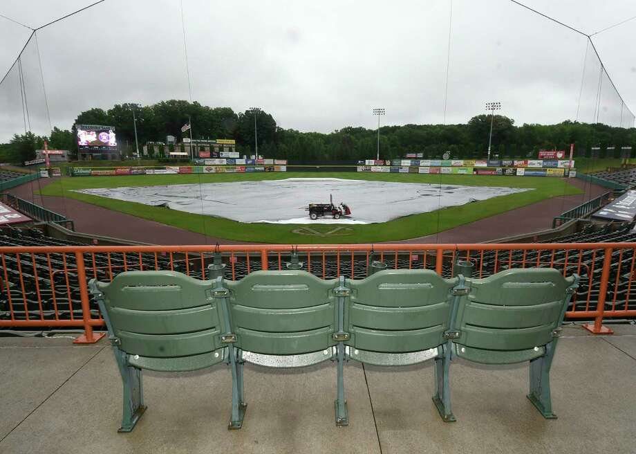 View of the covered infield as tonights game between the Tri-City ValleyCats and the Lowell Spinners was cancelled due to rain  Friday, Aug. 3, 2018, in Troy, N.Y. (Hans Pennink / Special to the Times Union) Photo: Hans Pennink / Hans Pennink