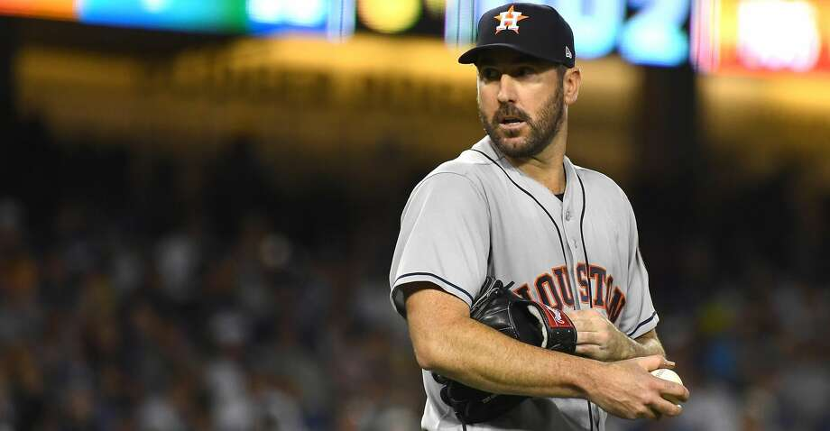 LOS ANGELES, CA - AUGUST 03:  Justin Verlander #35 of the Houston Astros on the mound after two outs in the eighth inning of the game against the Los Angeles Dodgers at Dodger Stadium on August 3, 2018 in Los Angeles, California.  (Photo by Jayne Kamin-Oncea/Getty Images) Photo: Jayne Kamin-Oncea/Getty Images