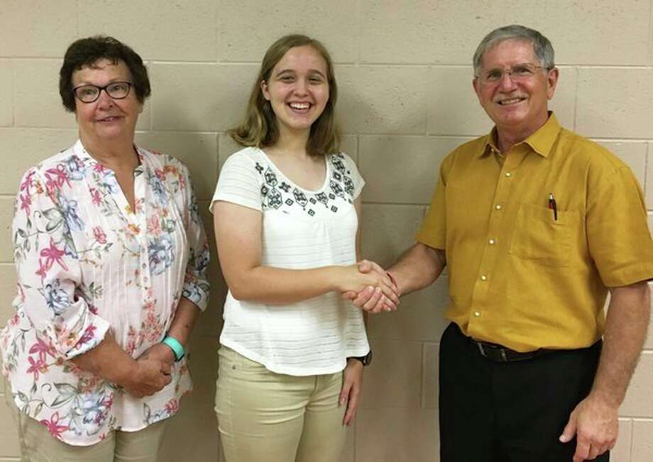 At its last meeting, the Michigan Association of Retired School Personnel (MARSP) awarded a $1,000 scholarship to high school graduating senior Jennifer Rogers, of Bad Axe. She will be attending Western Michigan University to study music education and hopes to teach middle and high school students. Pictured are Pat Duever, scholarship chairperson, Jennifer Rogers, recipient and David Jaroch, MARSP president. (Submitted Photo)