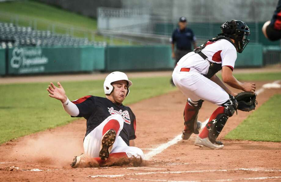 Sergio Chavez scored a run on Friday night against Hermosillo, Mexico for the Laredo 18U Pony League Baseball team at Uni-Trade Stadium. Laredo is hosting the 2018 Palomino World Series for the first time as play got underway all day Friday. Laredo led 5-0 after one inning but lost 7-6 to open the tournament. Photo: Danny Zaragoza /Laredo Morning Times