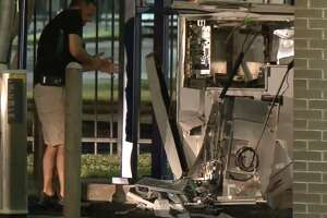 Six men who were using a stolen forklift to steal an ATM were arrested early Saturday morning, the Houston Police Department said. The men were in the process of smashing in the ATM at the drive-through of Comerica Bank, 2201 Mangum Road, when multiple undercover officers around 4 a.m.