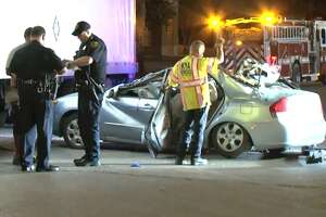 Two people were hospitalized after slamming into an 18-wheeler truck in northwest Houston Saturday morning, Houston Police said. The man and woman were driving near Kempwood and Blankenship around 3:15 a.m. when they hit the truck, which was already across the road, police said. The two were pinned underneath the truck, but were rescued by Houston firefighters and taken to the hospital in stable condition.