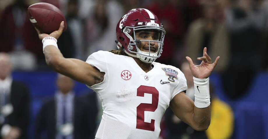 Alabama quarterback Jalen Hurts (2)passes in the second half of the Sugar Bowl semi-final playoff game against Clemson for the NCAA college football national championship, in New Orleans, Monday, Jan. 1, 2018. (AP Photo/Rusty Costanza) Photo: Rusty Costanza/Associated Press