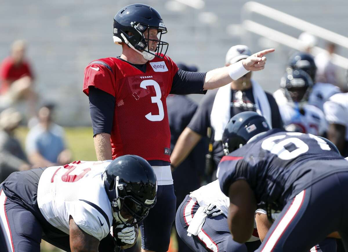 Houston Texans quarterback Brandon Weeden (3) makes a call at the line during training camp at the Greenbrier Sports Performance Center on Saturday, Aug. 4, 2018, in White Sulphur Springs, W.Va.