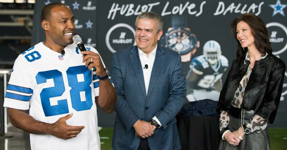 ARLINGTON, TX - NOVEMBER 01:  (L-R) Darren Woodson, Ricardo Guadalupe and Charlotte Jones Anderson unveil the Hublot Big Bang Dallas Cowboys timepieces at AT&T Stadium on November 1, 2015 in Arlington, Texas.  (Photo by Cooper Neill/Getty Images for Hublot) Photo: Cooper Neill/Getty Images For Hublot