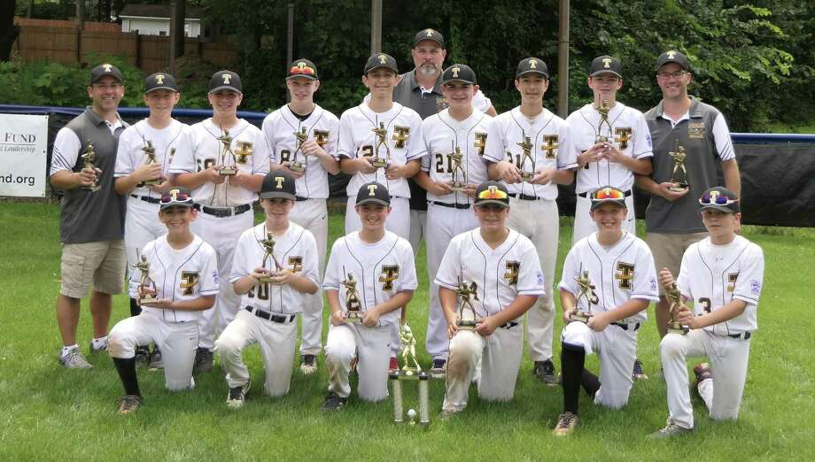 After coming up short in the District 2 Little League finals against Fairfield American, Trumbull National entered the competitive LaMotta Little League Tournament in Stamford. In this 6-team pool and elimination format, they faced District 1 teams from Darien, Ridgefield, Stamford and Norwalk. In the Championship game on July 28, the Trumbull National bats came alive with 13 hits, beating Norwalk 14-4 to bring home the Championship trophy. Trumbull National players are Sean Francoeur, Jackson DePino, Hayden Brill, Luca Antonio, Matthew Wood, Jeff Kraus, Henry Berrien, John Duda, A.J. Albaladejo, Jett Daly, Ben Miller, Charlie Krasinski, and Jake Colucci. Manager, Matthew Wood is assisted by coaches Pete Kraus and Mitch DePino. Photo: Contributed Photo / Contributed Photo / Stamford Advocate Contributed