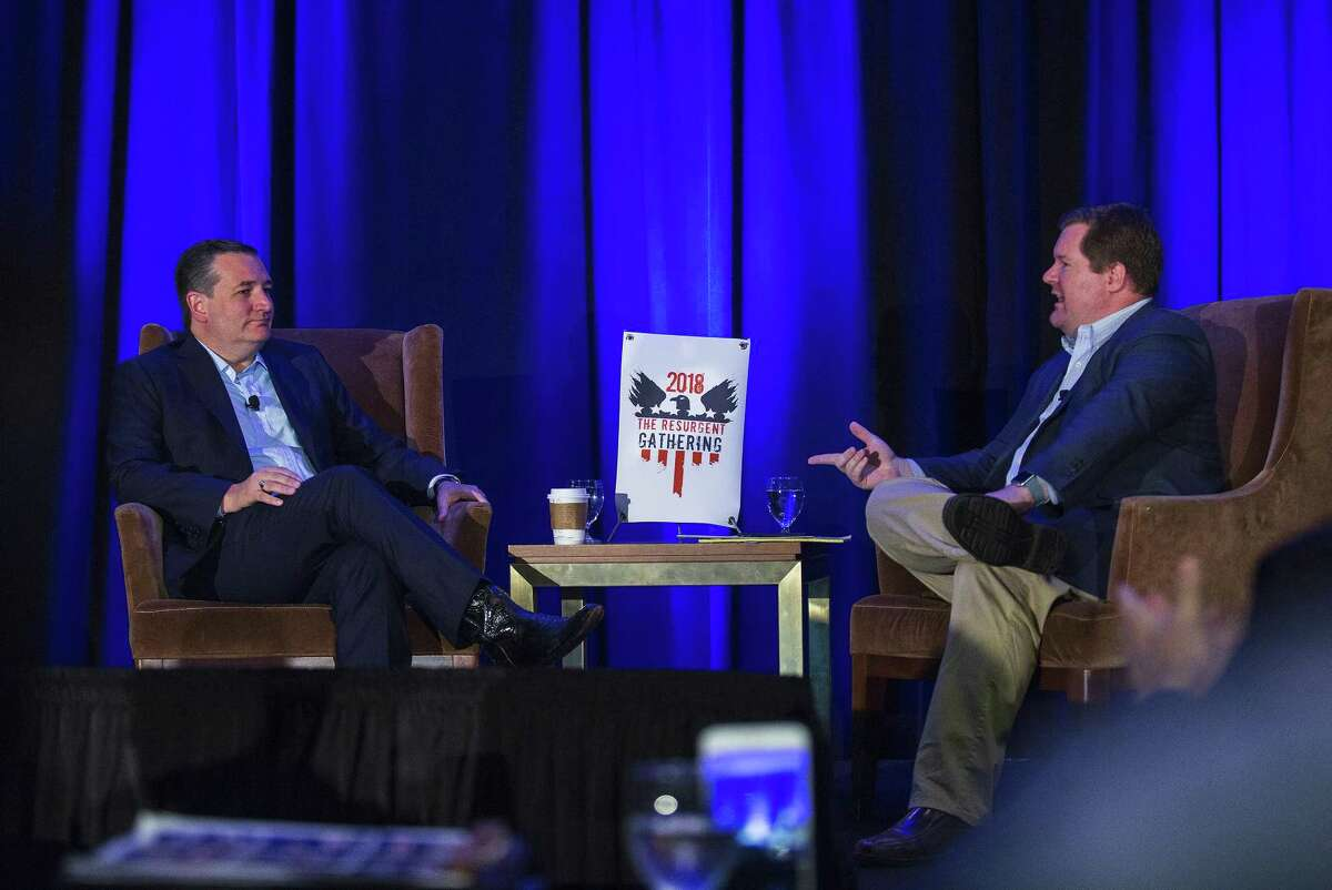 Senator Ted Cruz chats with Erick Erickson at a Republican event called The Resurgent Gathering at the Capitol Sheraton hotel in Austin, Texas on August 4, 2018.