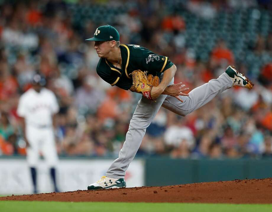 Oakland Athletics starting pitcher Daniel Gossett (48) pitches during the second inning of an MLB baseball game at Minute Maid Park, Thursday, June, 29, 2017.  Astros beat the Oakland Athletics 11-8. ( Karen Warren / Houston Chronicle ) Photo: Karen Warren / Houston Chronicle