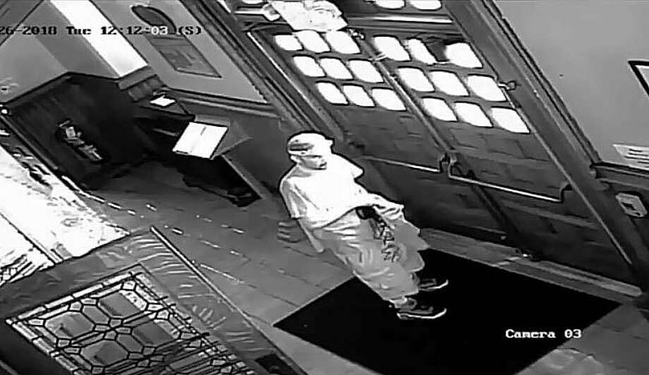 A freeze frame from the surveillance footage that, police said, caught a larceny suspect on camera taking items from a Stamford, Conn., church on May 15, 2018. Photo: Contributed Photo / Stamford Police Department / Contributed Photo / Connecticut Post Contributed