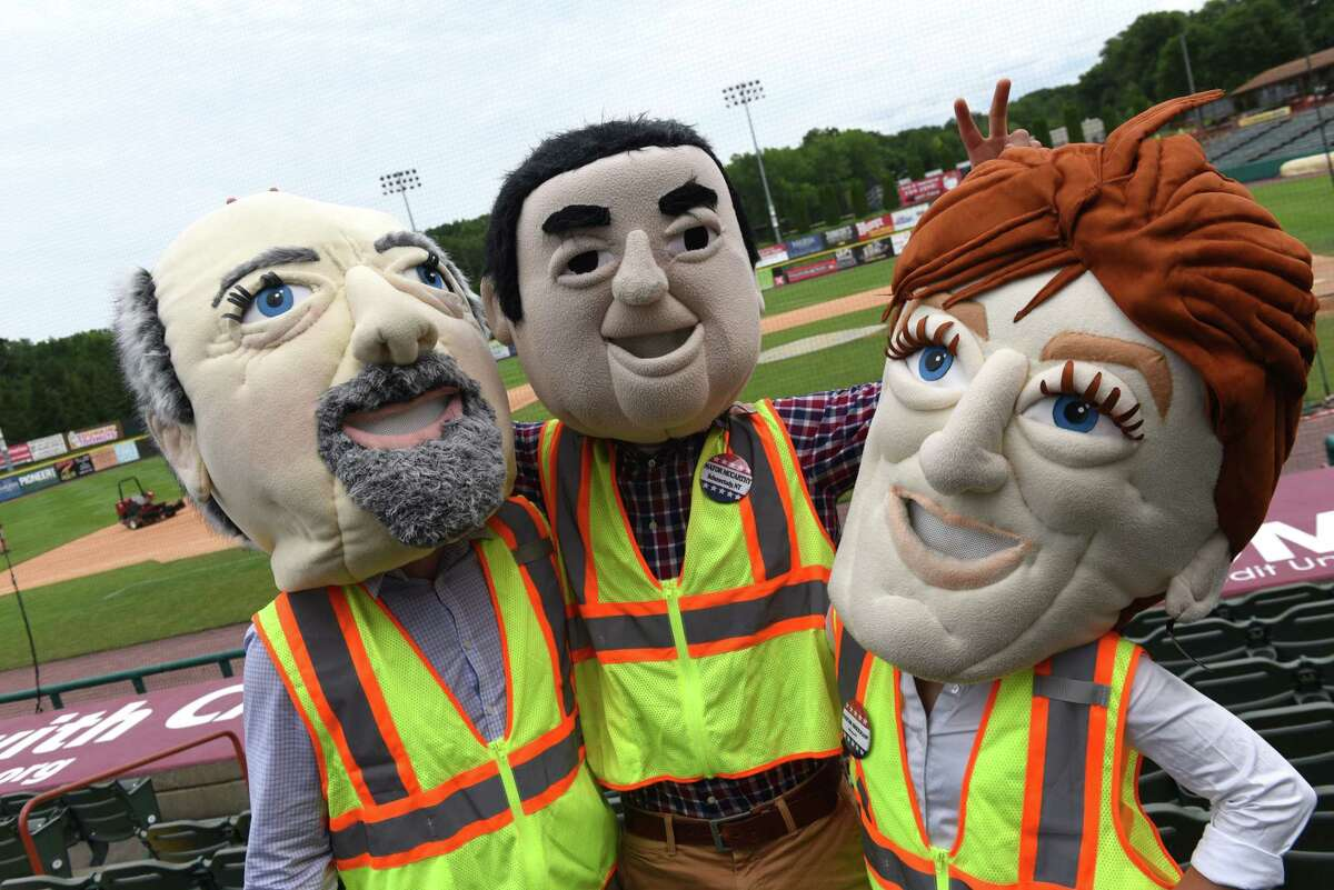 Tri-City ValleyCats mayoral mascots, from left,Patrick Madden of Troy, Gary McCarthy of Schenectady and Kathy Sheehan of Albanyat Joseph L. Bruno Stadium in Troy, N.Y. (Will Waldron/Times Union)