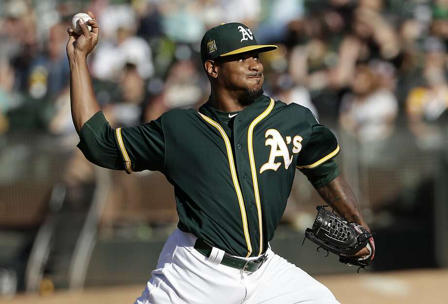 Oakland Athletics pitcher Edwin Jackson throws to a Detroit Tigers batter during the first inning of a baseball game in Oakland, Calif., Saturday, Aug. 4, 2018. (AP Photo/Jeff Chiu) Photo: Jeff Chiu / Associated Press