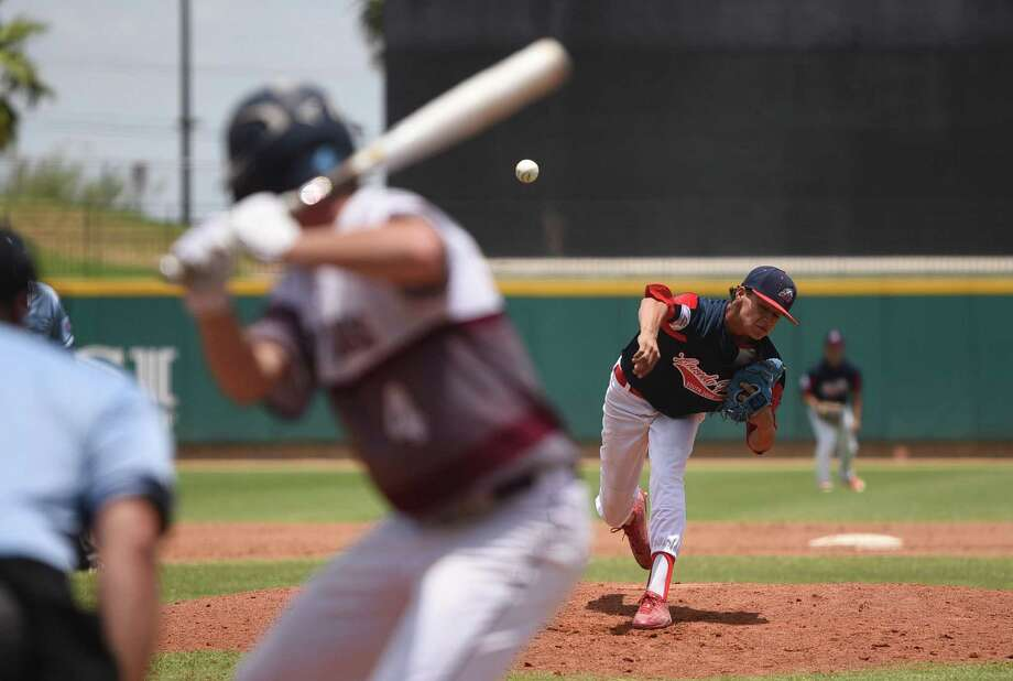 Marco Raya led the Laredo PONY League 18U team to a 10-2 win over Michigan Saturday allowing just four hits with six strikeouts in six innings. Photo: Danny Zaragoza /Laredo Morning Times / Laredo Morning Times