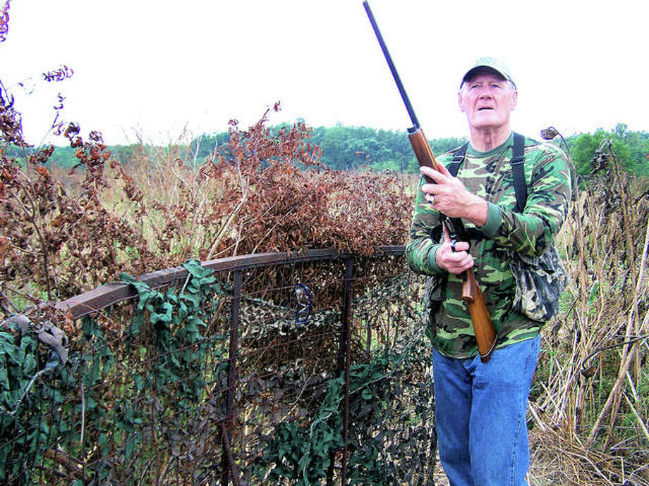 Sunflower fields are among the top locations for dove hunting. Above, former St. Louis Cardinals and Dallas Cowboys Hall of Famer Jackie Smith hunts dove in an area sunflower field last year. The opening of dove season is approaching quickly. Photo:       Curt Hicken | For The Telegraph