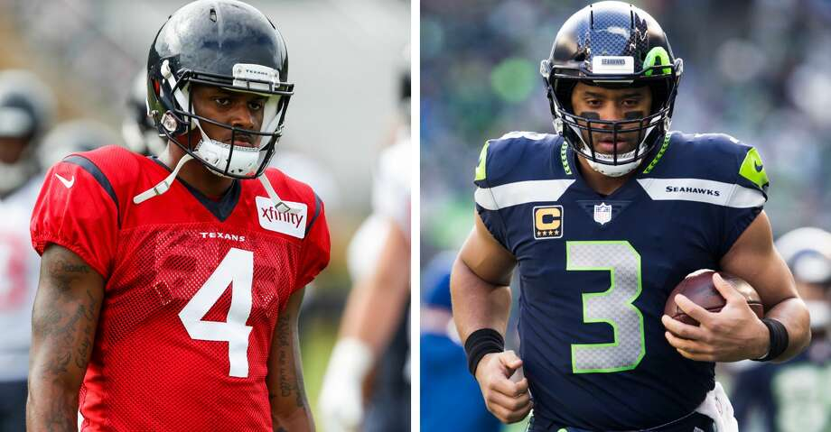 PHOTOS: Texans training camp Texans quarterback Deshaun Watson reminds Tyrann Mathieu of Seahawks quarterback Russell Wilson. Browse through the photos to see action from Texans training camp on Aug. 5. Photo: Brett Coomer/Genna Martin