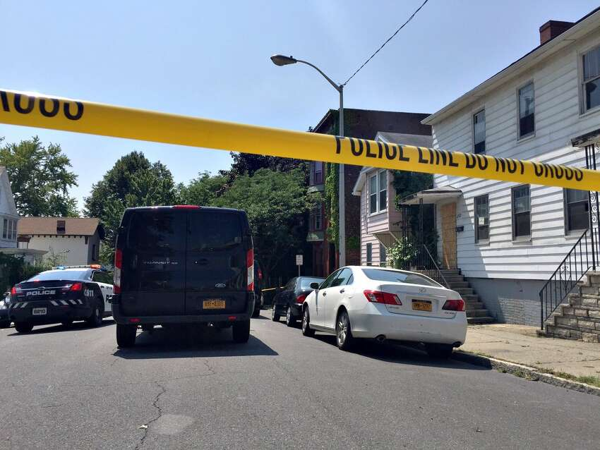 A man was shot dead on Remsen Street in Cohoes August 5, 2018, after a resident said the man was breaking into their home. Police provided no other details Sunday. (Paul Buckowski/Times Union)