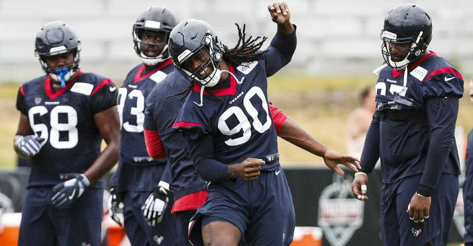 PHOTOS: Texans training camp Houston Texans defensive end Jadeveon Clowney (90) runs through the line while working on handwodk during training camp at the Greenbrier Sports Performance Center on Friday, Aug. 3, 2018, in White Sulphur Springs, W.Va. Browse through the photos to see action from Texans training camp on Aug. 5. Photo: Brett Coomer/Houston Chronicle