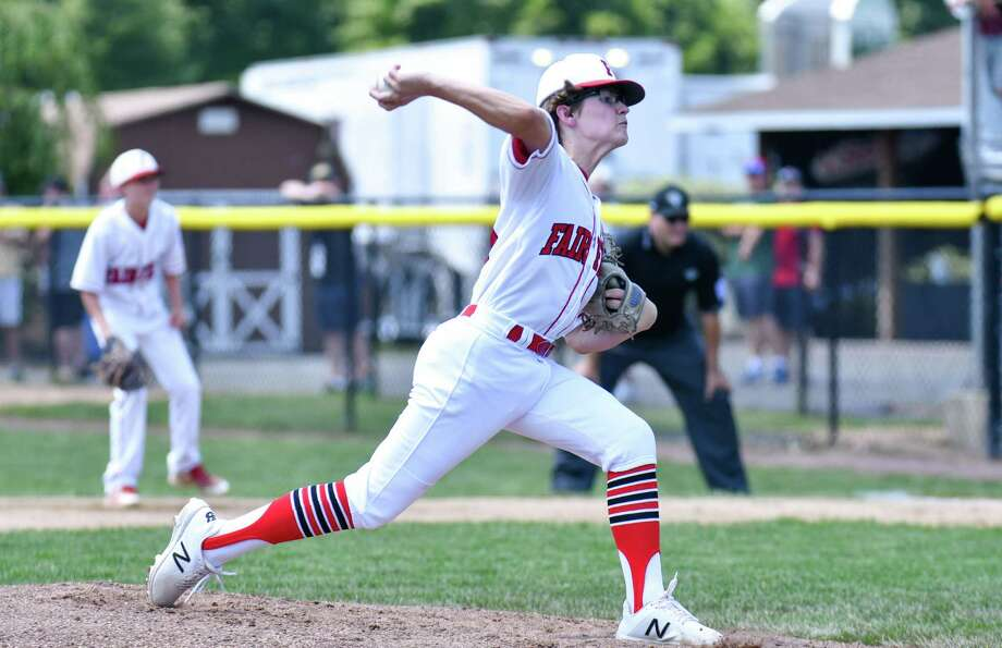 Pierce Cowles (8) of Fairfield American (CT) delivers a pitch during the 2018 Little League Eastern Regional game against Coventry, Rhode Island on Sunday Aug 5, 2018, at the A. Bartlett Giamatti Little League Center in Bristol, Connecticut. Photo: Gregory Vasil / For Hearst Connecticut Media / Connecticut Post Freelance