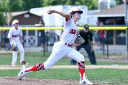 Pierce Cowles (8) of Fairfield American (CT) delivers a pitch during the 2018 Little League Eastern Regional game against Coventry, Rhode Island on Sunday Aug 5, 2018, at the A. Bartlett Giamatti Little League Center in Bristol, Connecticut.