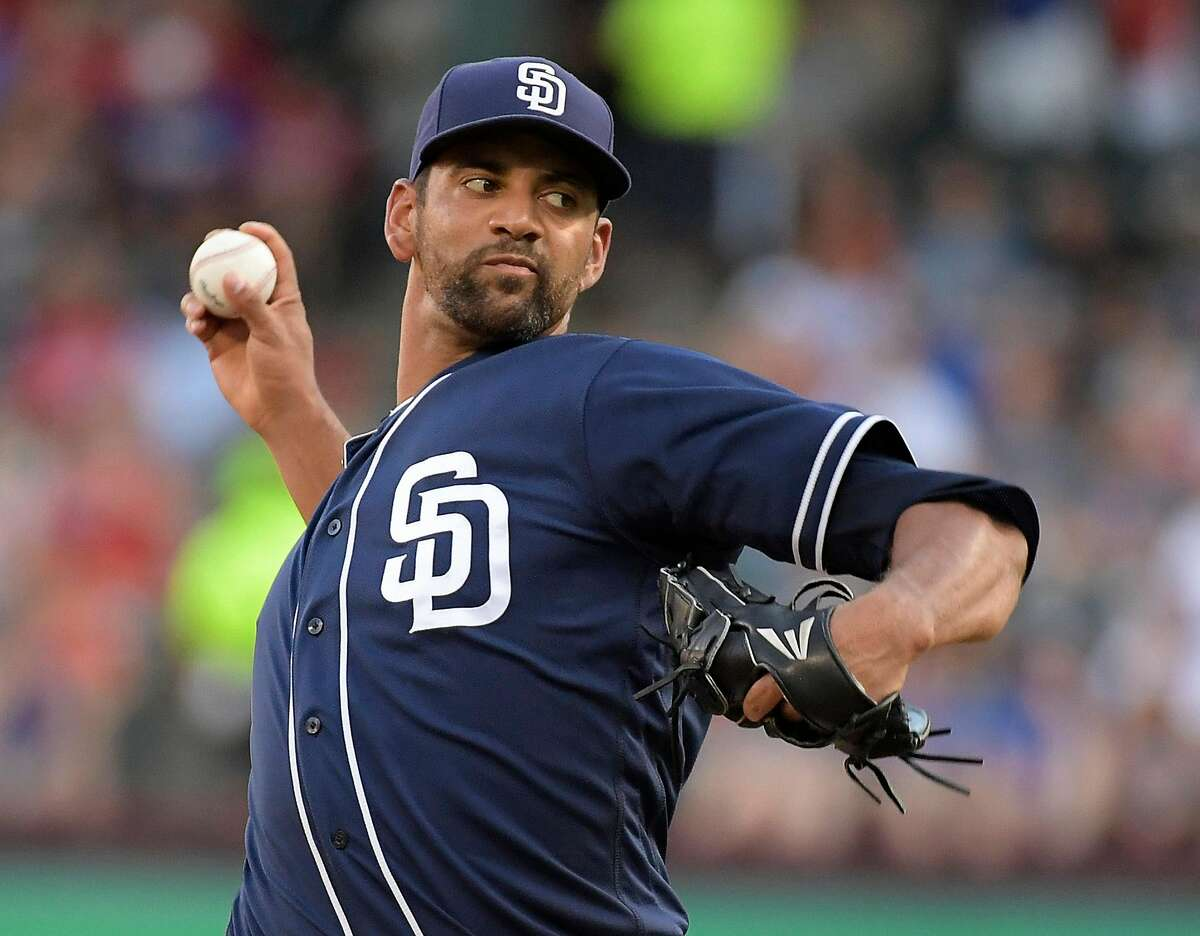 San Diego Padres starting pitcher Tyson Ross works during the first inning against the Texas Rangers at Globe Life Park in Arlington, Texas, on Tuesday, June 26, 2018. (Max Faulkner/Fort Worth Star-Telegram/TNS)