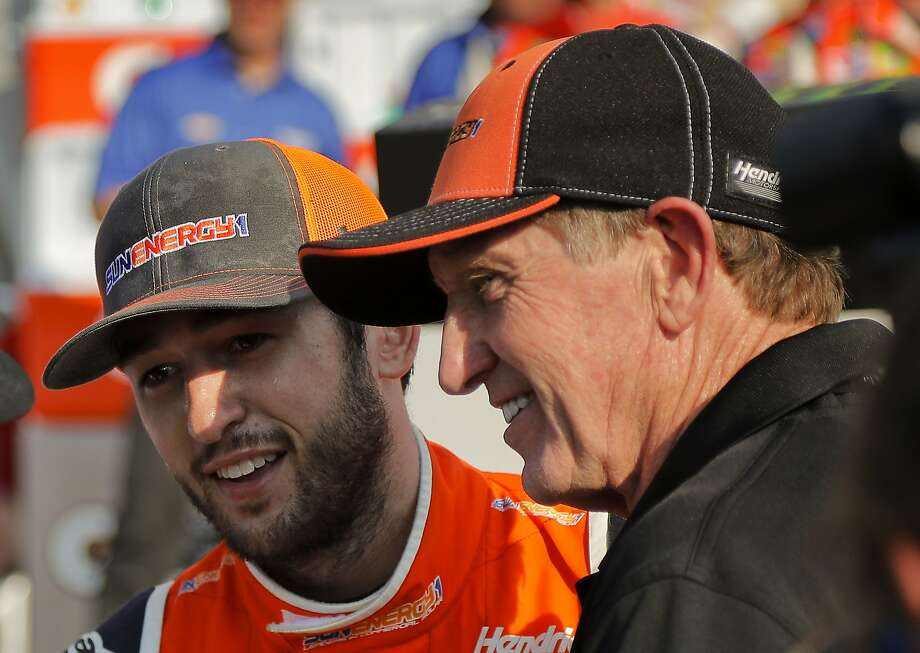 Chase Elliott (left) and his Hall-of-Fame father Bill Elliott celebrate Chase's first Cup Series victory. Photo: Julie Jacobson / Associated Press