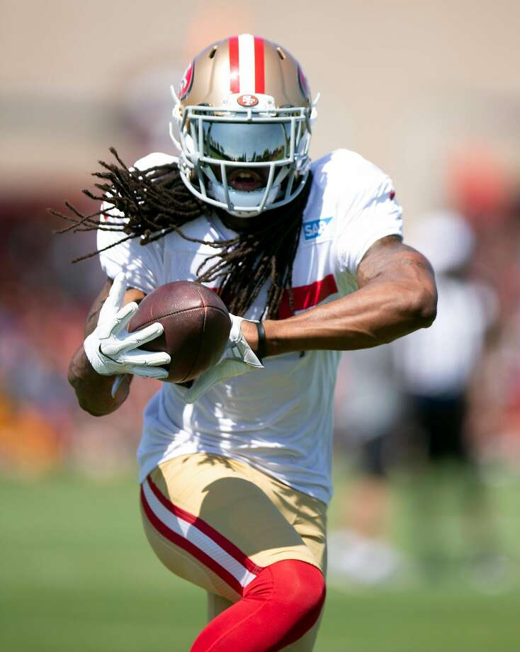 San Francisco 49ers cornerback Richard Sherman runs a pass defense drill as he works out with the team at the its training camp, Wednesday, Aug. 1, 2018 in Santa Clara, Calif. Photo: D. Ross Cameron, Special To The Chronicle