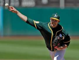 Trevor Cahill (53) pitches as the Oakland Athletics played against the Detroit Tigers at the Coliseum in Oakland, Calif., on Sunday, August 5, 2018.