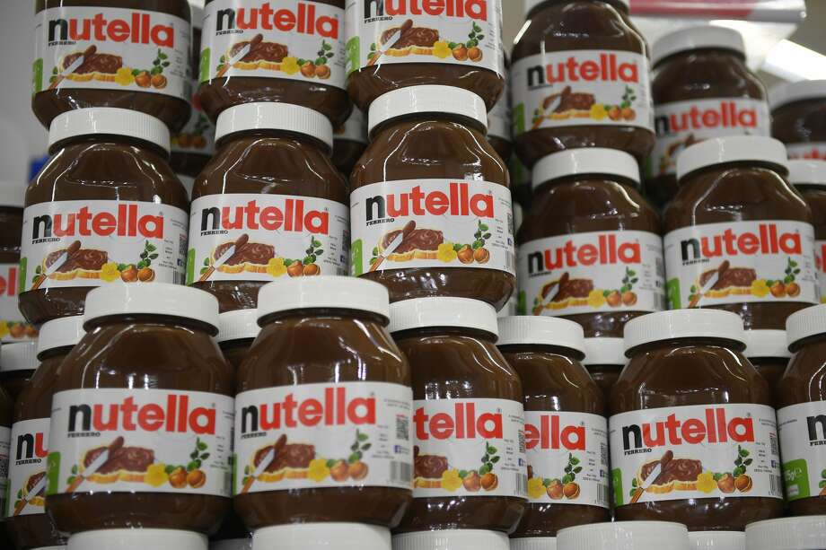 This photo taken on January 30, 2018 in Saint-Gregoire, near Rennes, northwest France, shows containers of Nutella. Photo: DAMIEN MEYER/AFP/Getty Images