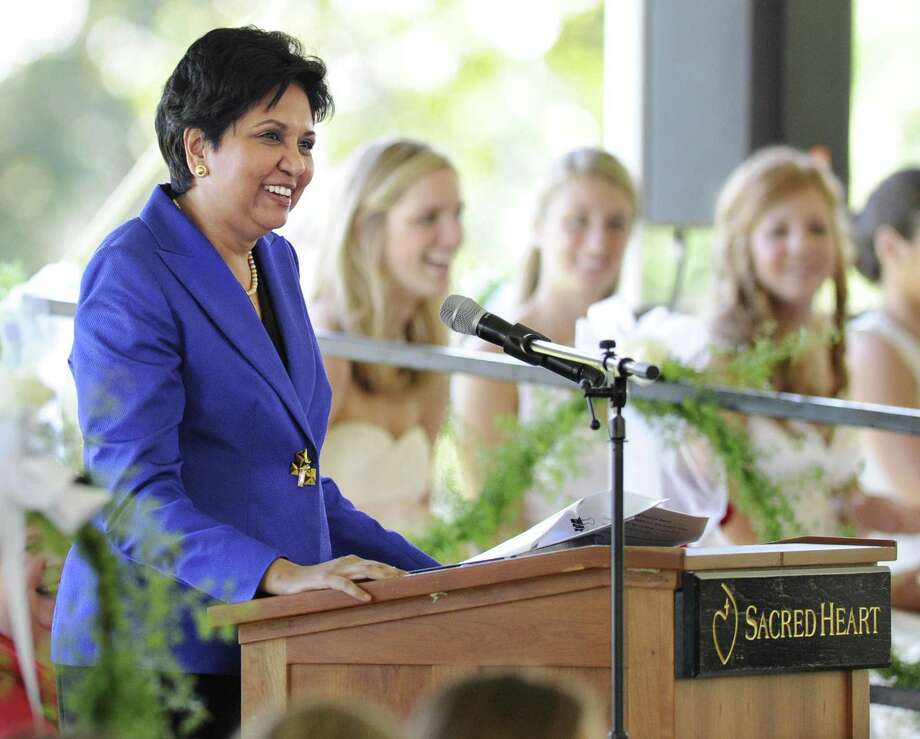 Indra Nooyi, chairman and chief executive officer of PepsiCo., speaks during the Convent of the Sacred Heart Commencement, Greenwich, in 2011. Photo: Bob Luckey / File Photo / Greenwich Time