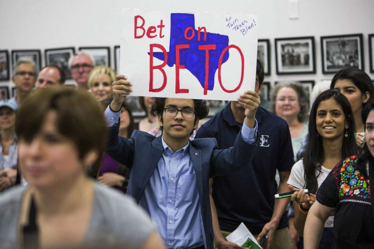 Supporters of Rep. Beto O'Rourke, D-Texas, listen to him speak during a campaign stop in his bid for a U.S. Senate seat on Sunday, April 2, 2017, in Houston. The little-known El Paso congressman, 44, announced Friday that he is challenging incumbent Sen. Ted Cruz, R-Texas, in 2018, in an uphill battle in a state that has no elected a Democrat statewide since 1994. ( Brett Coomer / Houston Chronicle )
