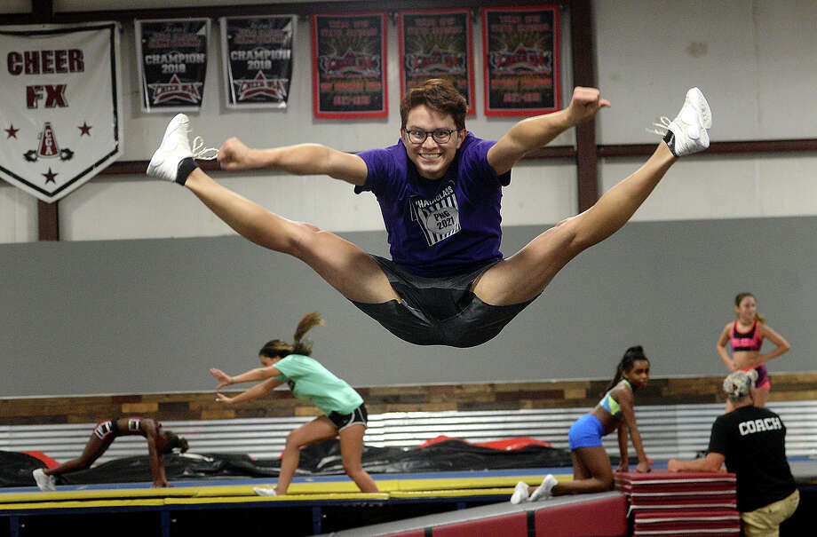 Kyler Carreon, who is a Junior Varsity cheerleader and the only male cheerleader for Port Neches - Groves, practices at Full FX Gymnastics in Port Arthur, which he says is a second home to him. Kyler says his love of gymnastics drew him to the sport and doesn't let being a guy in a female-dominated sport get in the way of pursuing his passion. Thursday, August 2, 2018 Kim Brent/The Enterprise Photo: Kim Brent/The Enterprise