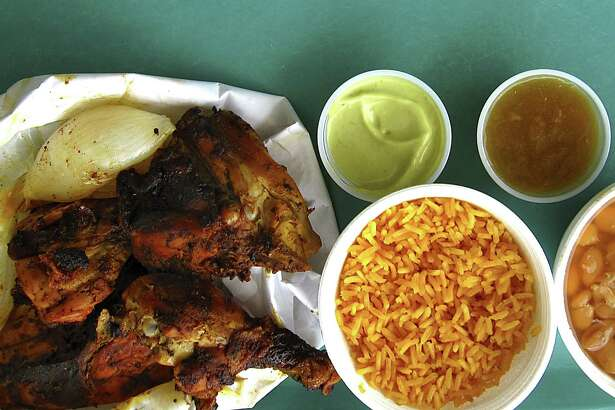 Pollos asados, salsas, rice and beans from Regio Express on Fredericksburg Road.