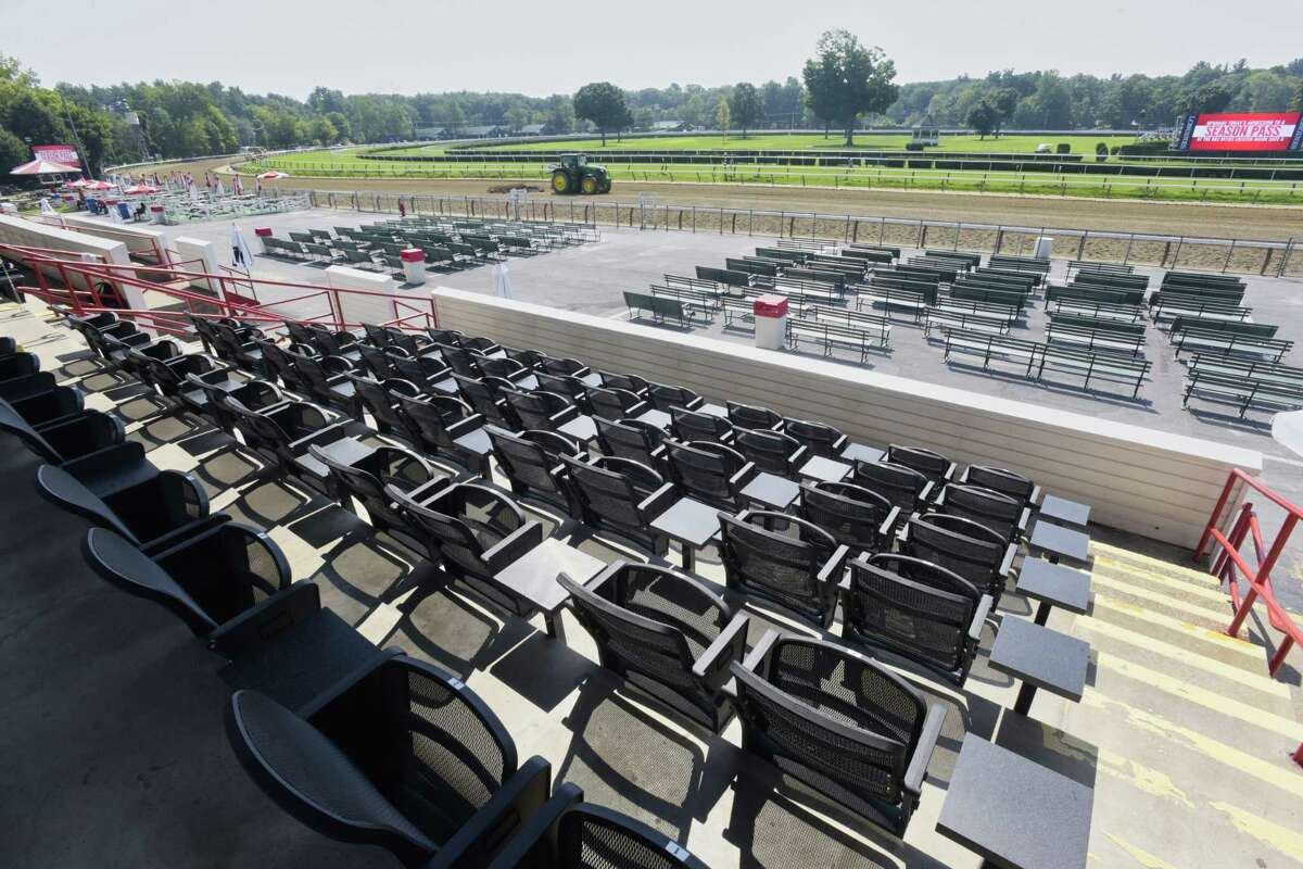 A view of the premium seating inside the new area called The Stretch at the Saratoga Race Course on Monday, Aug. 6, 2018, in Saratoga Springs, N.Y. (Paul Buckowski/Times Union)