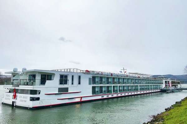 The Viking Gullveig is 443 feet long and carries 190 passengers. Here docked in Krems, Austria on the Danube River